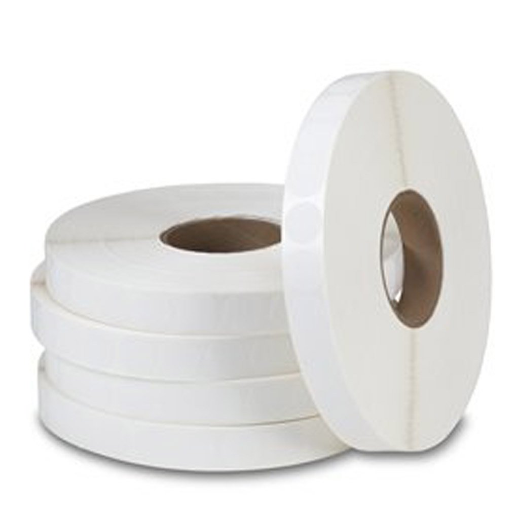 1-1/2'' Round White Paper Tabs / Wafer Seals w Plain Edges - Roll of 5,000 by MATRIX
