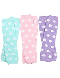 3 Pair Baby Girl Leg Warmers Aqua Polka Dot, Powder Pink Polka Dot, Lavender Polka Dot