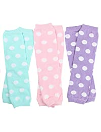 juDanzy 3 Pair Baby Girl Leg Warmers Aqua Polka Dot, Powder Pink Polka Dot, Lavender Polka Dot (One Size)