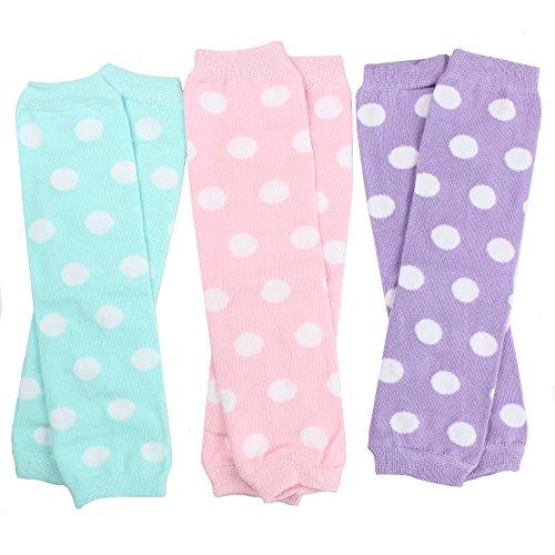 juDanzy 3 Pair Baby Girl Leg Warmers Aqua Polka Dot, Powder Pink Polka Dot, Lavender Polka Dot (One Size)
