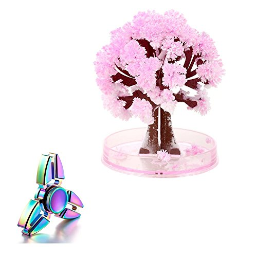 Peoria Rainbow Hand Spinner + Pink Cherry Paper Tree (Flowering) Stress Reducer Relieve Anxiety and Boredom