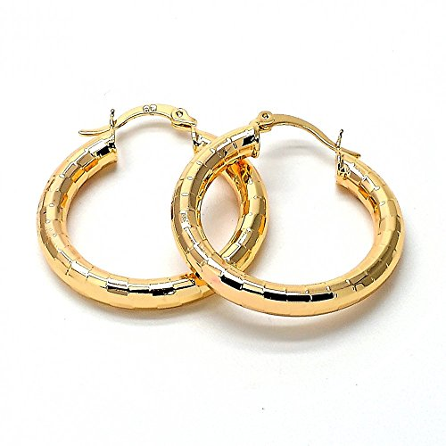 Special Offer - Stunning 14K Gold Plated Women Hoop Earrings, 4 MM. 20 MM to 80 MM (25 MM)