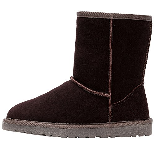 Shenn Womens Classic Short Charming Winter Warm Snow Boots Chocolate