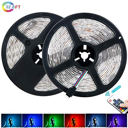 XINYI LED Strip Lights, 32.8 Ft Waterproof Led Light Strip SMD 5050 300Leds RGB Tape Light Color Changing Lights Rope Kits with 17 Key RF Controller Power Supply for Christmas Home Indoor Decoration