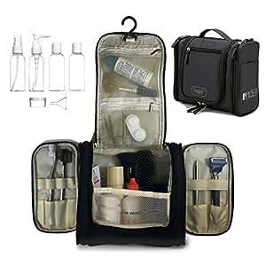 Neceser para colgar Viaje Bolsa Aseo, Tocador, Botellas de viaje | Organizador Accesorios de Baño y de Cosméticos kit de Afeitado, Kit de Afeitado y líquidos | Aprobadas para Seguridad de Aeropuerto
