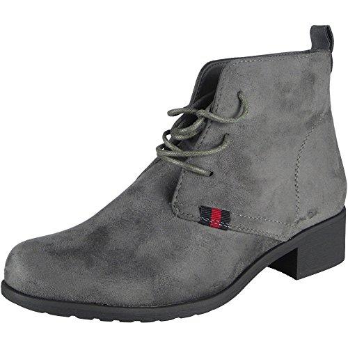 Damen Faux Velours Knöchel Beiläufig Arbeit Spitze auf Stiefel Größe 36-41 Grau