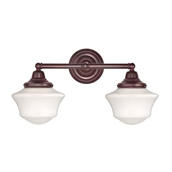 Genial Schoolhouse Bathroom Light With Two Lights In Bronze Finish
