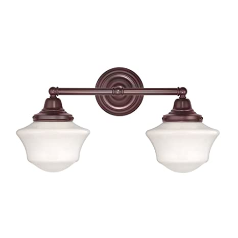 Schoolhouse bathroom light with two lights in bronze finish vanity schoolhouse bathroom light with two lights in bronze finish aloadofball Choice Image
