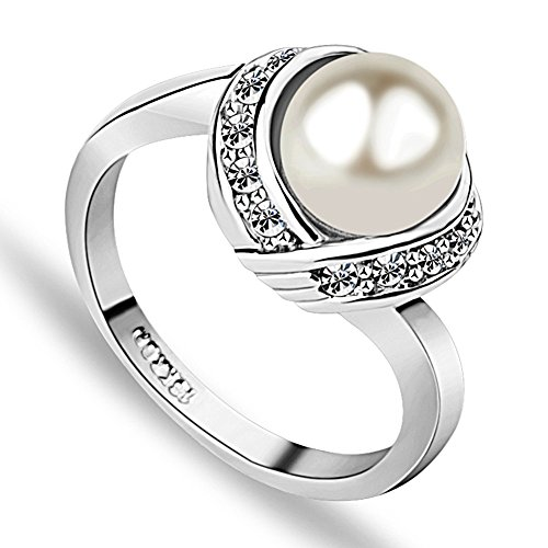 Acefeel Elegant White Imitation Pearl and Czech Drilling Fashion Cocktail Ring for Women R103 Size 6.5