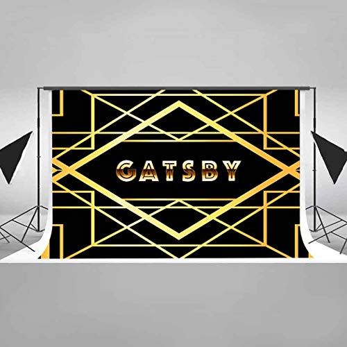 EARVO Background 7x5ft Great Gatsby Backdrop Elegant Black Photography Background 1920's Themed Party Birthday Party Decoration Cotton Backdrop Photo Booth Props EAZY0308 -