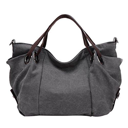 ZKOO Canvas Shoulder Bag Womens Large Capacity Travel Shopper Handbags Hobo Tote Bags Grey