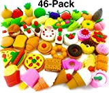 O'Hill Pack of 46 Pencil Erasers Assorted Food Cake Dessert Puzzle Erasers for Birthday Party Supplies Favors, School Classroom Rewards and Novelty Toys