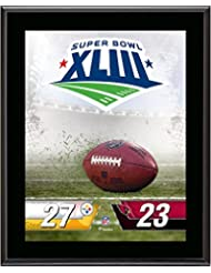 """Pittsburgh Steelers vs. Arizona Cardinals Super Bowl XLIII 10.5"""" x 13"""" Sublimated Plaque - NFL Team Plaques and Collages"""