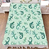 iPrint Bed Skirt Dust Ruffle Bed Wrap 3D Print,Chameleons Leaping Nature Animal Art Nursery,Fashion Personality Customization adds Color to Your Bedroom. by 70.9''x78.7''