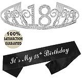 18th Birthday Tiara and Sash | Happy 18th Birthday Party Supplies | It's My 18th Birthday Glitter Satin Sash and Crystal Tiara Birthday Crown for 18th Birthday Party Supplies and Decorations