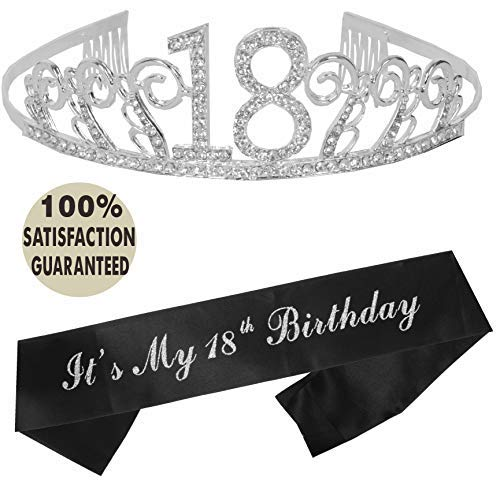 18th Birthday Tiara and Sash | Happy 18th Birthday Party Supplies | It's My 18th Birthday Glitter Satin Sash and Crystal Tiara Birthday Crown for 18th Birthday Party Supplies and -
