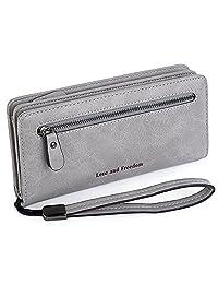 "UTO Women PU Leather Wristlet Wallet Large Capacity 5.5"" Zipper Phone Case Card Holder Organizer Purse"