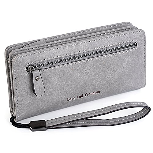 "Price comparison product image UTO Women PU Leather Wristlet Wallet Large Capacity 5.5"" Zipper Phone Case Card Holder Organizer Purse 3"
