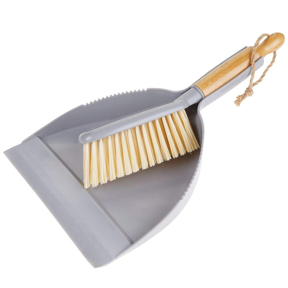 mDesign Hand Held Dustpan and Brush Set - Angled Brush Head, Long Bamboo Wood Handle with Hanging Loop - for Household Cleaning, Kitchen, Garage, Bathroom, Laundry or Utility Room - Gray/Natural