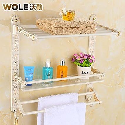 ZHZ Bastidores de toallas de baño blanco plegado Continental Toallero 2 capa de oro de parquet