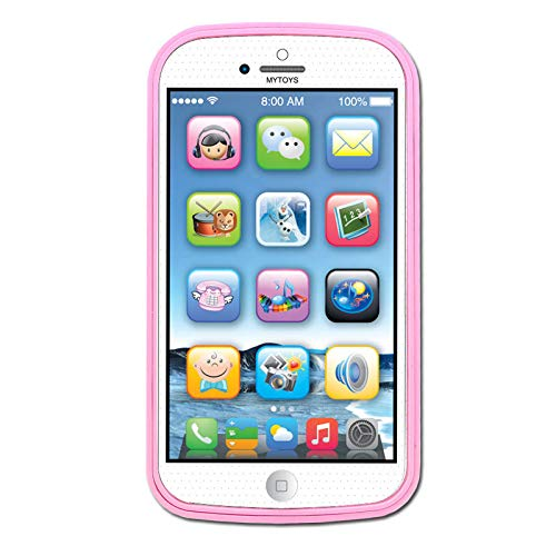 Cooplay Toddler Phone Toy Learning English Music Piano Sound Ringtone Lighting Educational Gift Like yphone 8 for Baby Kids Children (Pink)