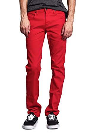 Victorious Men's Skinny Fit Color Stretch Jeans DL937 - RED - 26/30