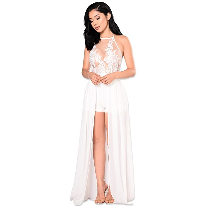 863a6af226 Women's Sexy Halter Sleeveless Mesh See Through Chiffon Maxi Dress Overlay  Romper Jumpsuit White, Large