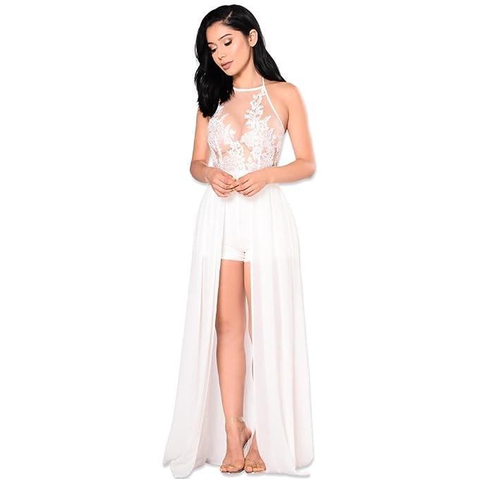 90a8e64b49 Women's Sexy Halter Sleeveless Mesh See Through Chiffon Maxi Dress Overlay  Romper Jumpsuit White, Large