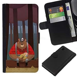 All Phone Most Case / Oferta Especial Cáscara Funda de cuero Monedero Cubierta de proteccion Caso / Wallet Case for Sony Xperia Z1 L39 // Bear Woodsman Red Woods Brown