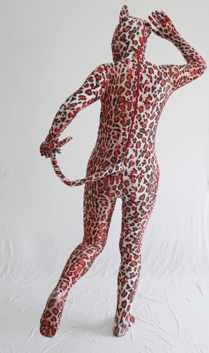 JustinCostume Leopard Print Lycra Spandex Zentai Full Body Suit with Ear and Tail