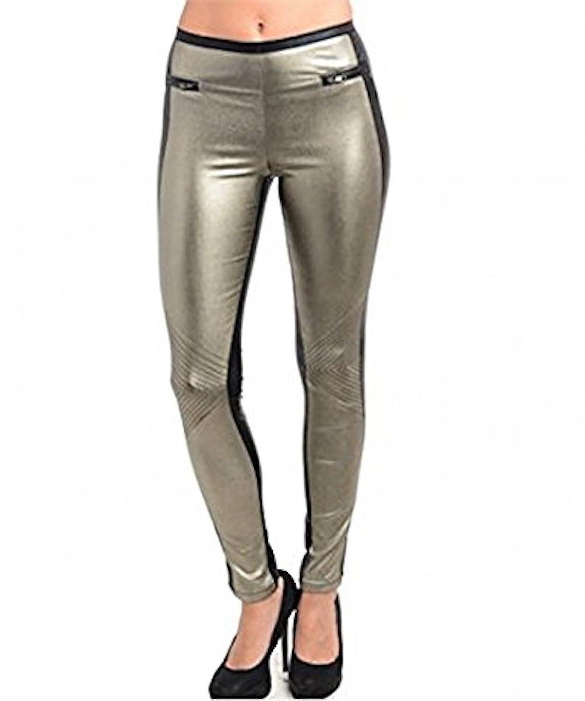 25% OFF!! Glitzy Metallic Color Block Two Tone Skinny Leg Pant