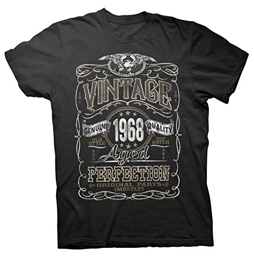 ShirtInvaders Vintage Aged Perfection 1968 - Distressed Print - 50th Birthday Gift T-Shirt - Black