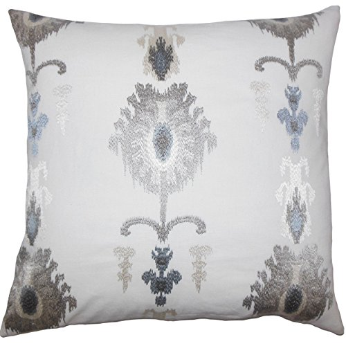 The Pillow Collection Taggart Ikat Bedding Sham Platinum, Euro/26
