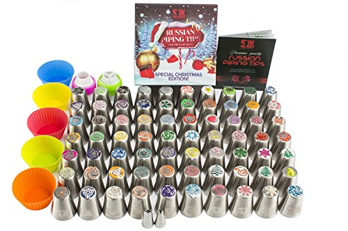 100pc Russian piping tips Special edition! 70 NEW design numbered stainless steel nozzles ,2leaf tip, 3-color+ single coupler, 20 pastry bags, 5 silicon cake cups, Christmas tips, largest set!