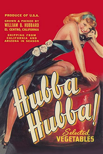 - Hubba Hubba - Pinup GIrl Vegetable - Vintage Crate Label (9x12 Art Print, Wall Decor Travel Poster)