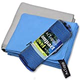 "AcTopp Sports and Travel Towel - Super Absorbent Microfiber Fast Drying Ultra-Light and Compact Workout Towels (Blue 29.5"" X 51.2"",Grey 31.5"" X 59.1"")for Sports, Backpacking,Yoga or Bath(Blue, Grey)"