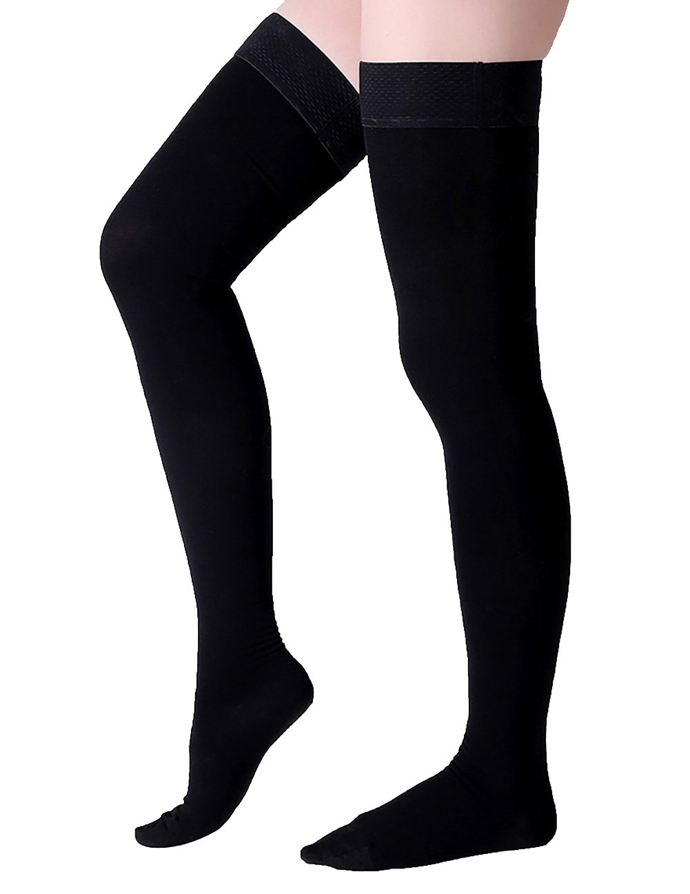 Thigh High Compression Stockings, Closed Toe, Firm Support 20-30 mmHg Gradient Compression Socks with Silicone Band, Opaque, Best for Treatment Swelling, Varicose Veins, Edema, Pregnancy, Black S by MGANG (Image #2)