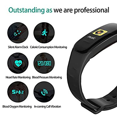 DKAHG Fitness Tracker,Color Screen Activity Tracker Watch with Blood Pressure Blood Oxygen, IP67 Waterproof Smart Band with Heart Rate Sleep Monitor Calorie Counter Pedometer for Men, Women and Kids