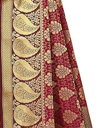 Maroon & Gold Kanchipuram Art Silk Saree With Blouse Piece