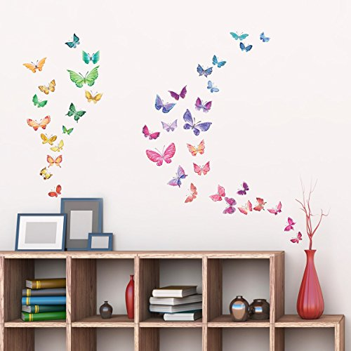 Decorative Butterflies Stickers - Decowall DW-1602 Watercolour Butterflies Kids Wall Decals Wall Stickers Peel and Stick Removable Wall Stickers for Kids Nursery Bedroom Living Room