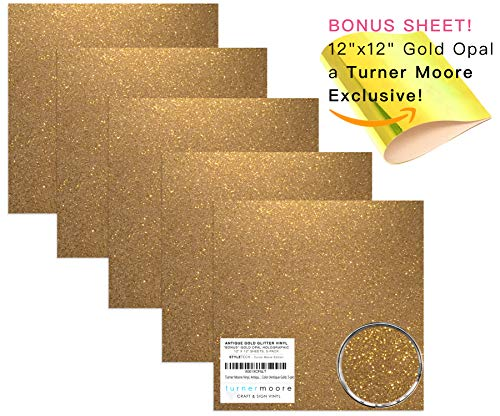 """Antique Gold Glitter Vinyl, 12"""" x 12"""" Sheets, Transparent Glitter Adhesive Vinyl for Maker, Explore, Silhouette Cameo + Bonus 12x12 Gold Opal EXCLUSIVE by StyleTech x Turner Moore (Antique Gold, 5-pk)"""