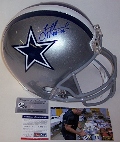 Troy Aikman Autographed Hand Signed Dallas Cowboys Full Size Football Helmet - with Hall of Fame 2006 Inscription - (Hall Of Fame Autographed Football)