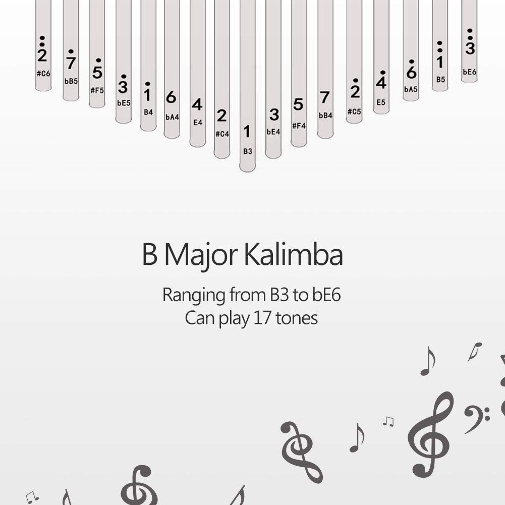 17 keys Kalimba Thumb Piano kit,Portable Thumb Piano Pterocarpus Erinaceus Wooden Body with Tuning Hammer,Pickup,Decorative Tassel Chain,Tremolo chain,Carry Bag by Yosoo- (Image #4)