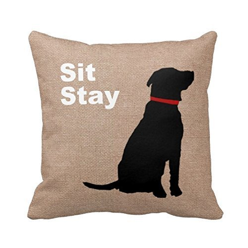 Sit Stay Words Dog Pillow Cover Print Pet Pillowcase Birthday's Gift Anniversary Cushion Covers 16x16 Twin Sides by Piillow