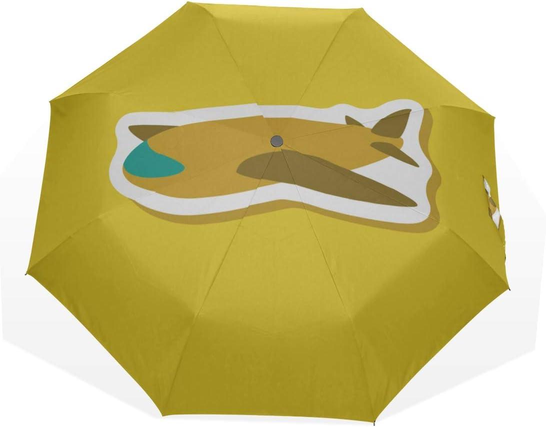 Paraguas de Viaje Favorito de los niños Avión de Juguete Antivibrador Compacto 3 Fold Art Ligero Paraguas Plegables (impresión Exterior) Lluvia a Prueba de Viento Paraguas de protección Solar para mu