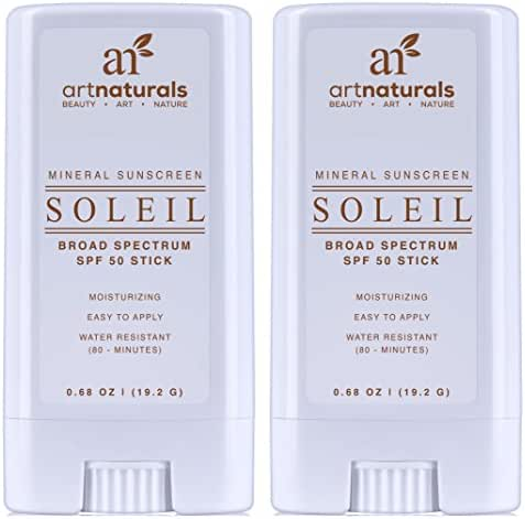 ArtNaturals Broad-Spectrum SPF-50 Sunscreen Stick – (2 x 0.7 oz) - Water Resistant 80 Minutes - Natural Ingredients - For all Skin Types - Gentle enough for Children, Kids & Babies