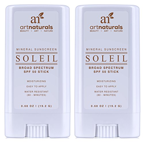 Price comparison product image ArtNaturals Sunscreen Stick, Water Resistant 80 Minutes, with The Best Natural and Organic Ingredients, for All Skin Types, Gentle Enough for Children, Kids and Babies, SPF 50, Pack of 2, 0.7 oz.