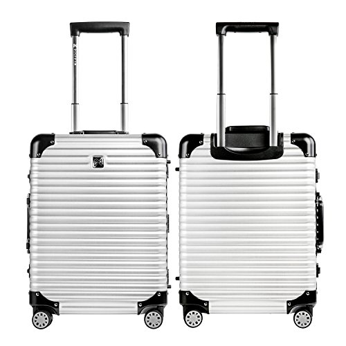 LANZZO Aluminum Magnesium Alloy Luggage with Spinner Wheels TSA Lock Approved Hardshell Travel Suitcase, 20inches, Silver by LANZZO (Image #3)