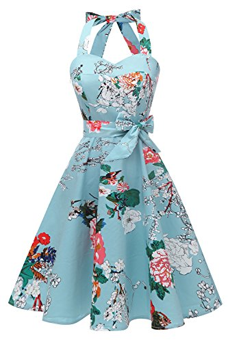 age Polka Audrey Dress 1950s Halter Retro Cocktail Dress Mint Flower M ()
