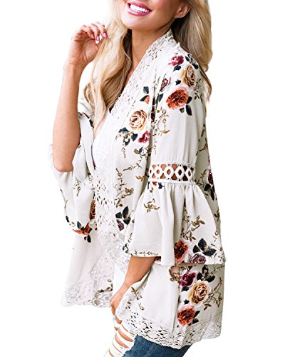 Young17 Women Lace Floral Open Cape Loose Blouse Bell Sleeve Kimono Cardigan Patchwork Cover ups Cardigan Tops (M, White) ()
